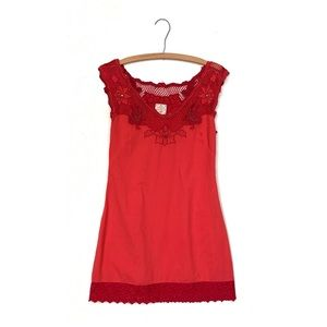 Free People Embroidered Beaded Crochet Dress